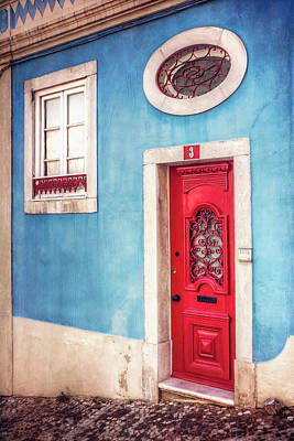 Red Door In Lisbon  Poster