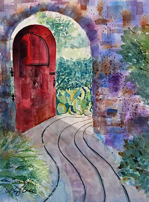 Red Door Poster by Mary Benke