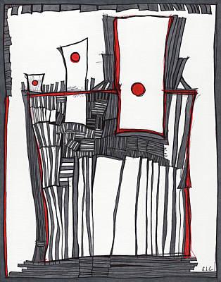 Red Dot Village Poster by Sandra Church