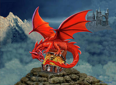 Red Dragon Guardian Of The Treasure Chest Poster by Glenn Holbrook