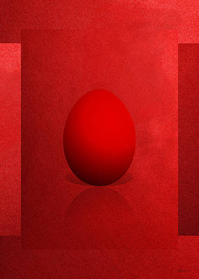 Red Egg On Red Canvas  Poster by Serge Averbukh