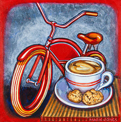 Red Electra Delivery Bicycle Cappuccino And Amaretti Poster by Mark Jones