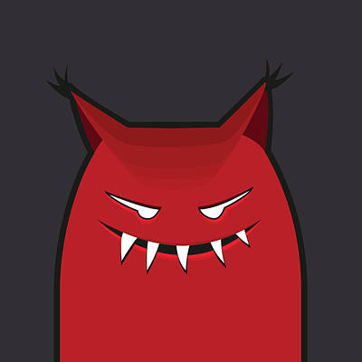 Red Evil Monster With Pointy Ears Poster by Boriana Giormova