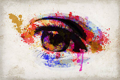 Red Eye Watercolor Poster by Delphimages Photo Creations