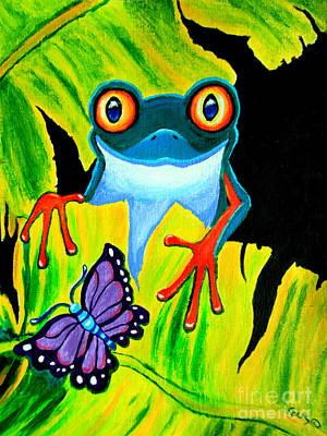 Red Eyed Tree Frog And Purple Butterfly Poster