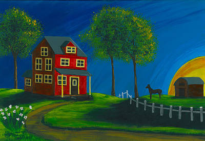 Poster featuring the painting Red Farm House by Gail Finn