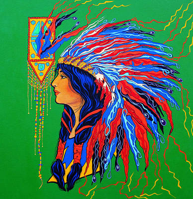 Poster featuring the painting Red Feathers by Debbie Chamberlin