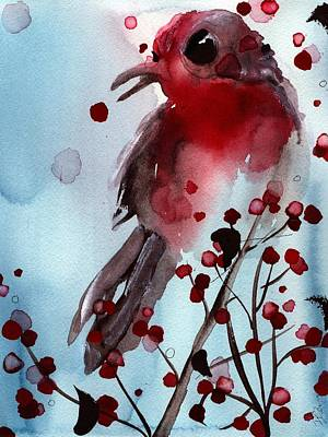 Red Finch In The Winterberry Poster by Dawn Derman