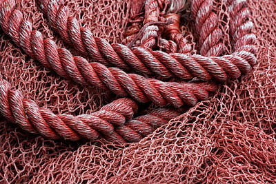 Red Fishing Net Detail Poster by Carol Leigh