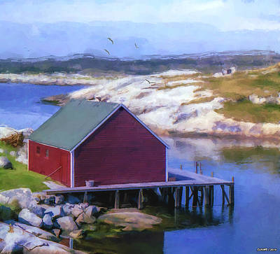 Red Fishing Shed On The Cove Poster by Ken Morris
