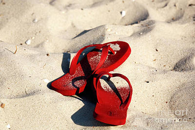 Poster featuring the photograph Red Flip Flops by John Rizzuto