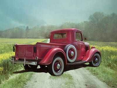 Poster featuring the photograph Red Ford Pick-up by Robin-Lee Vieira
