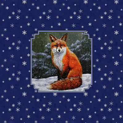 Red Fox Snowflakes Poster