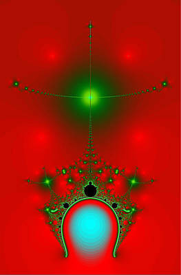 Poster featuring the digital art Red Fractal by Charmaine Zoe