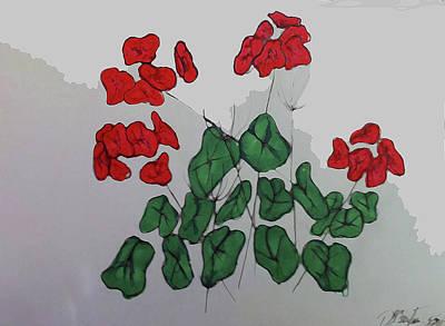 Red Geranium Poster by Deborah Baumann