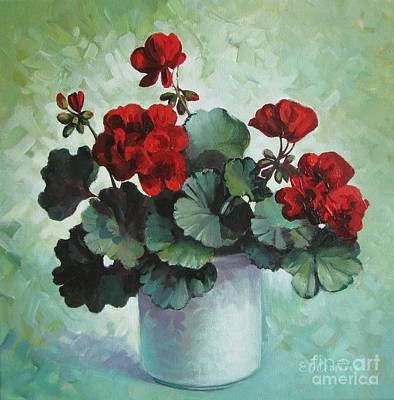 Poster featuring the painting Red Geranium by Elena Oleniuc