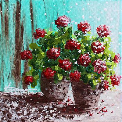 Red Geranium Flowers Poster