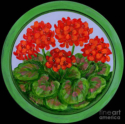 Red Geranium On Wood Poster