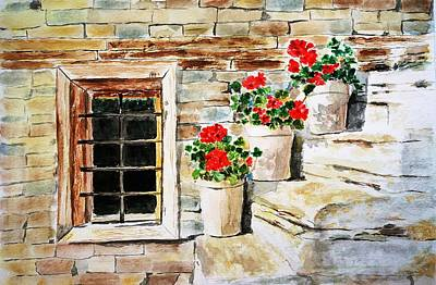 Red Geranium Outside Window Poster by Color Color