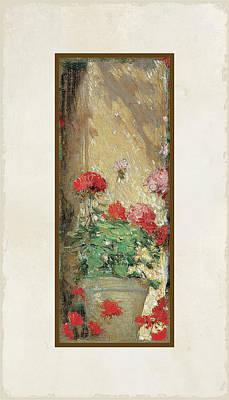 Red Geranium Pots Poster
