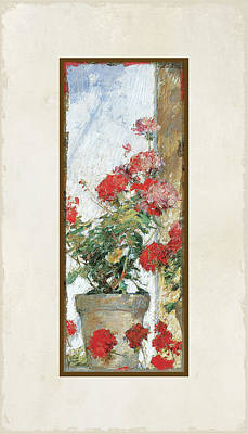 Red Geraniums Against A Sunny Wall Poster
