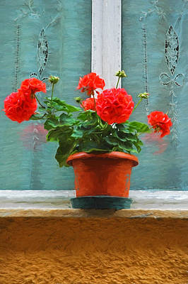 Red Geraniums Poster by Allen Beatty