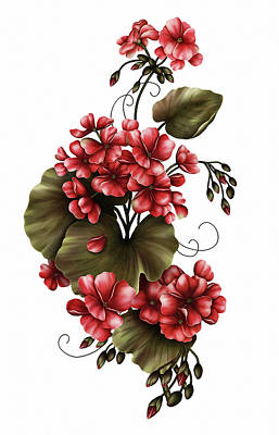 Red Geraniums On White Poster by Georgiana Romanovna
