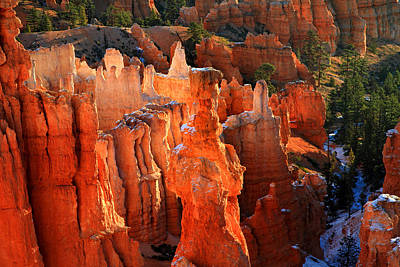 Red Glow On Thor's Hammer In Bryce Canyon Poster by Pierre Leclerc Photography