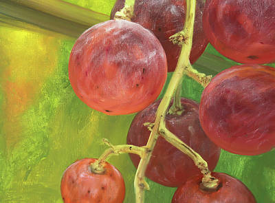 Red Grape Poster by Natalia Mikhaylina