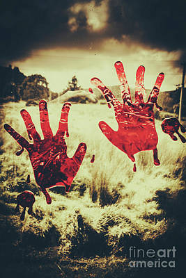 Red Handprints On Glass Of Windows Poster