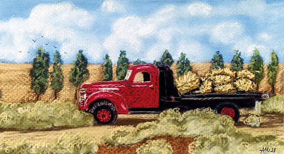 Poster featuring the pastel Red Hay Truck by Jan Amiss