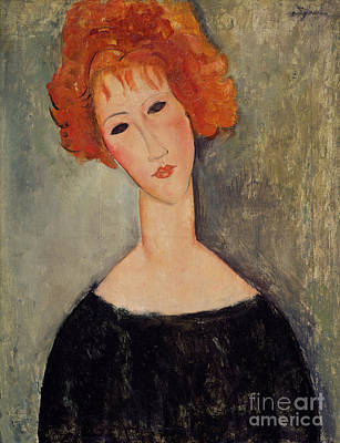 Red Head Poster by Amedeo Modigliani