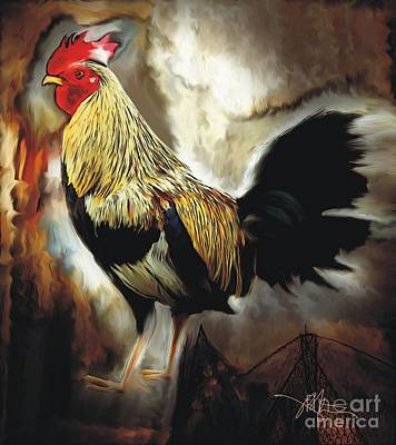Red Headed Rooster Poster by Bob Salo