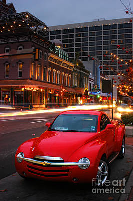 Red Hot Chevrolet Ssr In Downtown Of Dallas Fort Worth Poster by Vu Nguyen