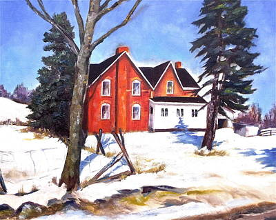 Red House In Rural Ontario Poster