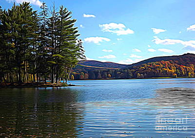 Poster featuring the photograph Red House Lake Allegany State Park In Autumn Expressionistic Effect by Rose Santuci-Sofranko