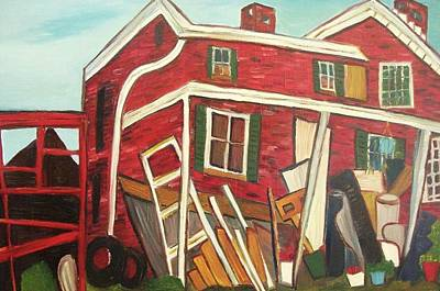 Red House Poster by Suzanne  Marie Leclair
