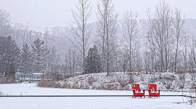 Poster featuring the photograph Red In Snow by Charline Xia