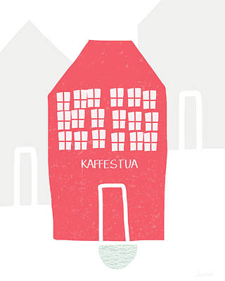 Red Kaffestua- Art By Linda Woods Poster