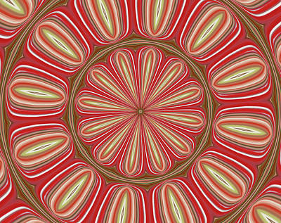 Red Kaleidoscope Poster by Marian Bell