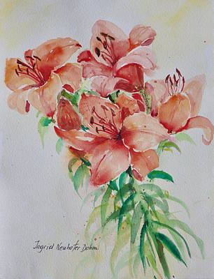 Red Lilies Poster by Alexandra Maria Ethlyn Cheshire