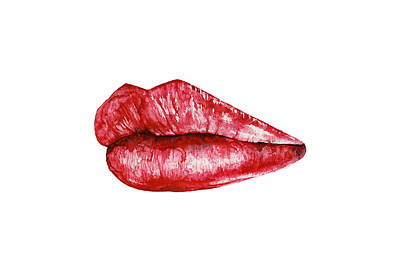 Red Lips Poster by Nika Art