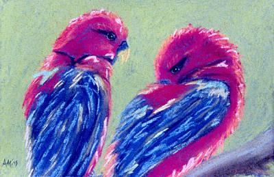 Red Lovebirds Poster