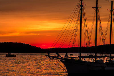 Red Maine Sunrise Poster by Steven Bateson