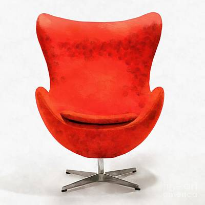 Red Mid Century Modern Chair Poster