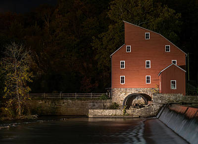Red Mill At Night Clinton New Jersey Poster by Terry DeLuco