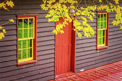 Red Mill Door In Fall Poster