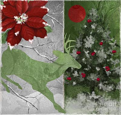 Red Moon Christmas Deer Poster