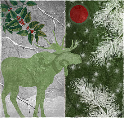 Red Moon Christmas Moose Poster