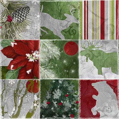 Red Moon Christmas Patchwork Poster by Mindy Sommers